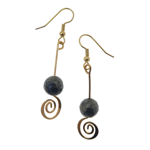 faceted pyrite beads on gold spiral earrings