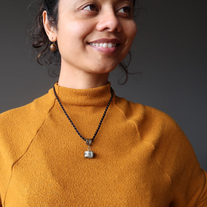 woman wearing pyrite nugget necklace