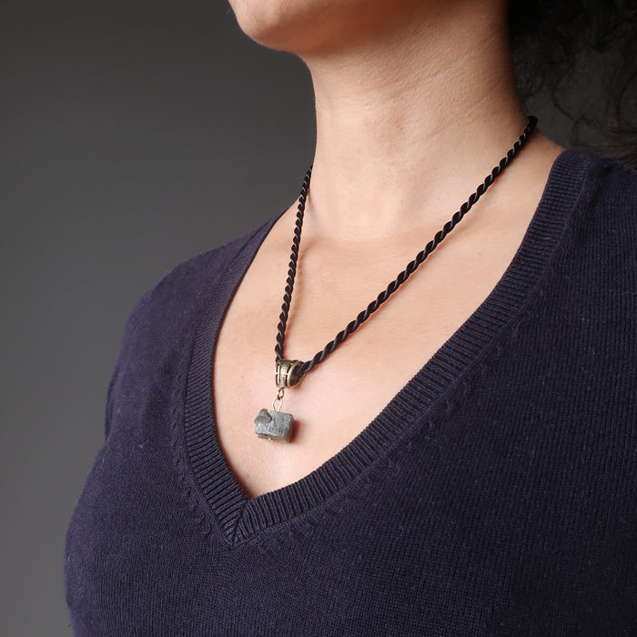 pyrite necklace on female neck