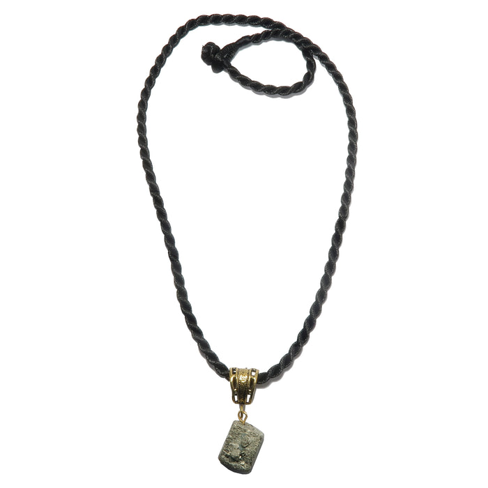 raw pyrite crystal on gold bail on twisted black necklace