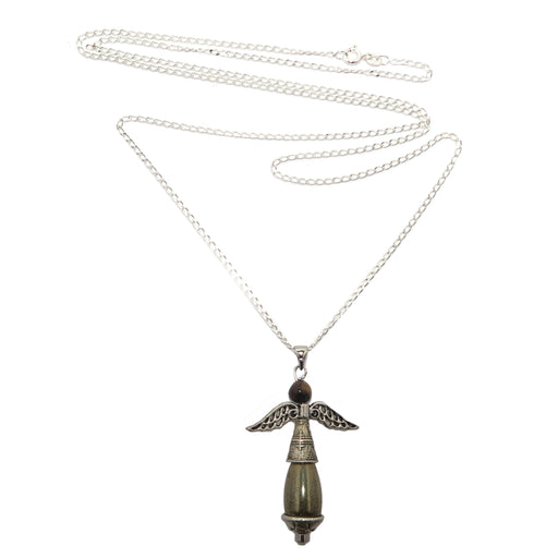 pyrite and tigers eye beaded angel pendant on sterling silver necklace chain