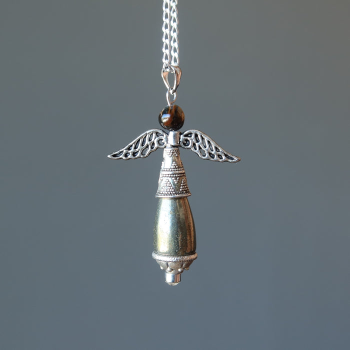 Pyrite Angel Necklace Tigers Eye Spiritual Gemstone Sterling Silver Chain