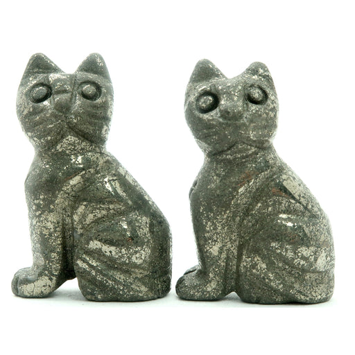 "Pyrite Animal Cat 1.5"" Set of 2 Gold Carving Stone Protection Pair"