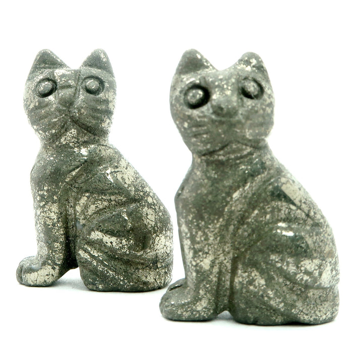 Pyrite Cat Set of 2 Gold Carving Stone Protection Pair Spirit Animal 1.5""