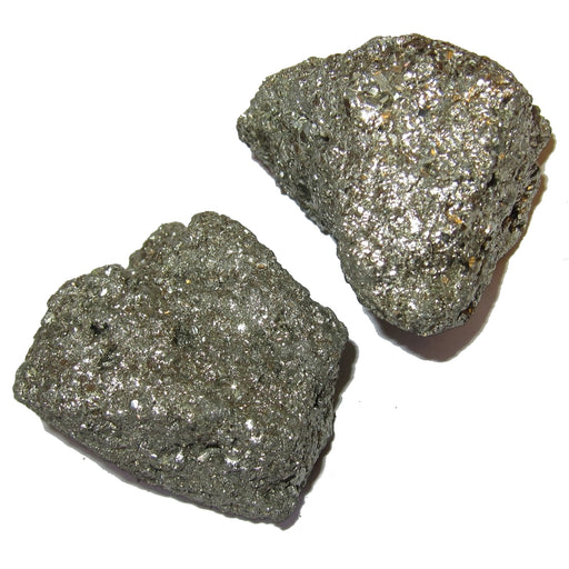 pair of raw golden tone pyrite clusters