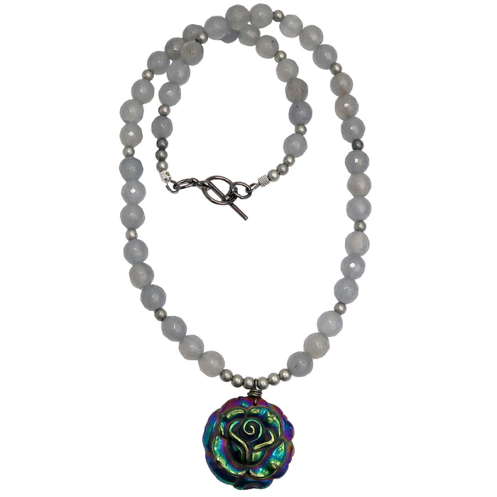rainbow pyrite rose pendant on faceted gray chalcedony beaded necklace