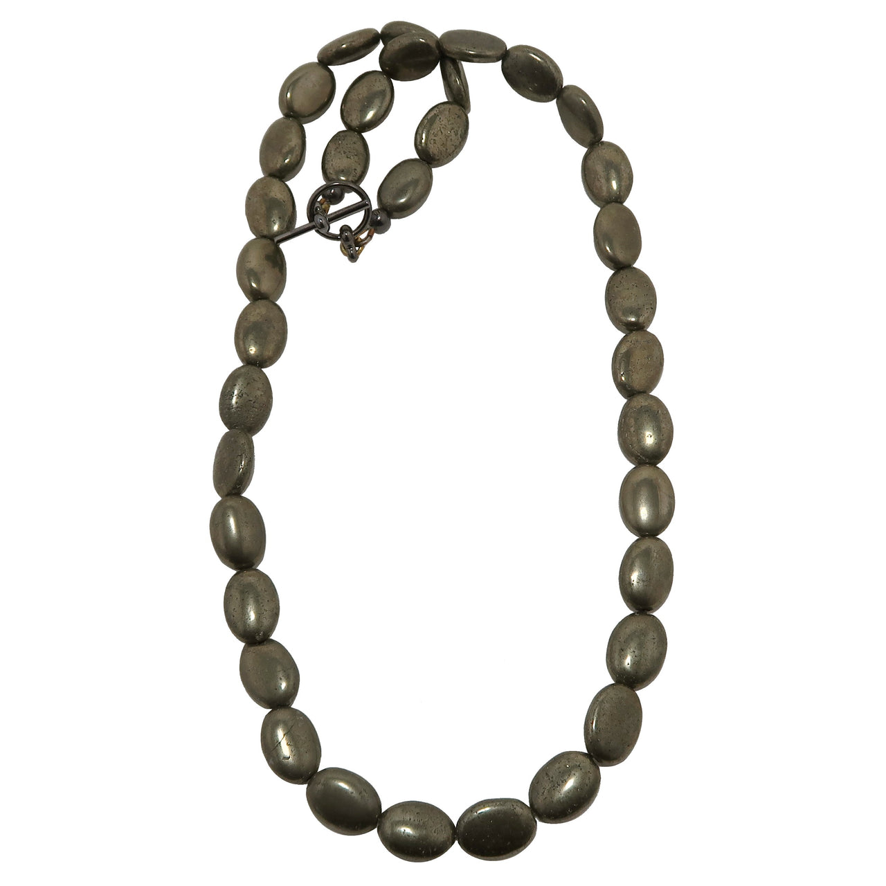 Pyrite Necklace Boutique Metallic Beaded Protection Stone Oval Shiny Fools Gold B04