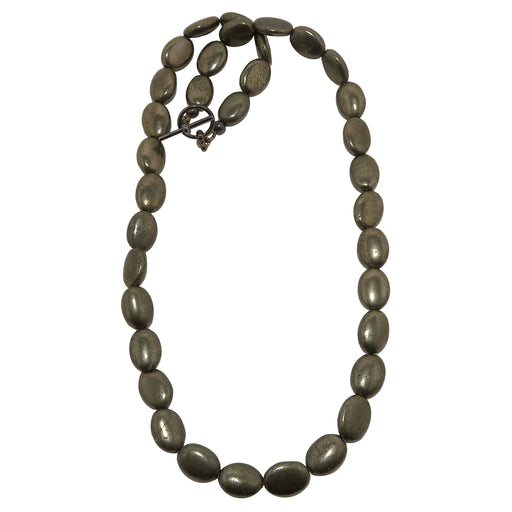 Pyrite Oval Necklace Metallic Beaded Protection Stone Shiny Fools Gold