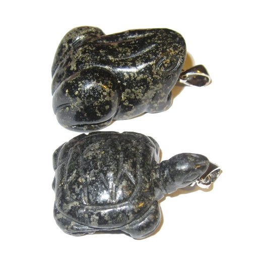 black and gold apache tear pyrite frog and turtle pendant set