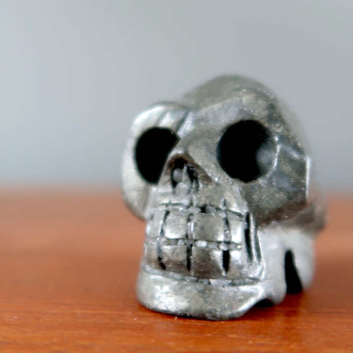 Pyrite Skull Crystal Iron Gold Carving Stone Connect with Beyond