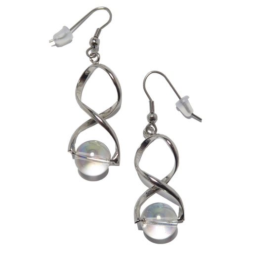 Quartz Aura Earrings Clear Rainbow Stones Silver Vortex Dangles