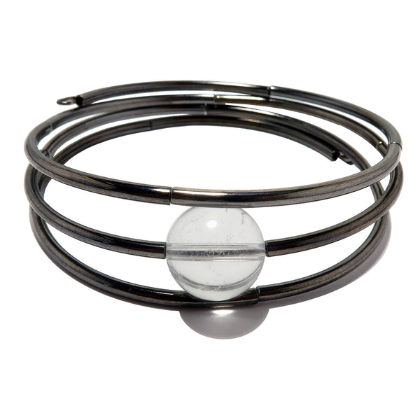 Quartz Clear Bracelet  3-Layered Memory Wire Gunmetal Wrap Coil Genuine Gemstone B01