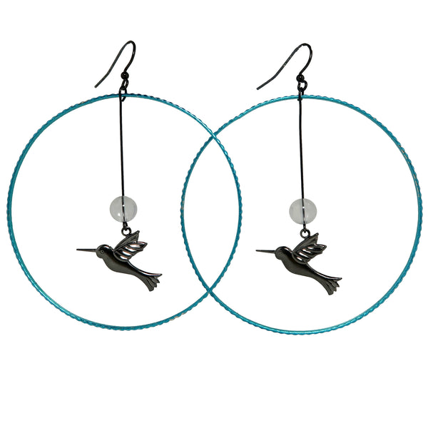 "Quartz Clear Earrings 3.5"" Boutique Big Blue Hoop Healing Stone Hummingbird Bird B01"