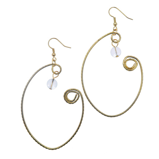 "Quartz Earrings 3.5"" Gold Spiral Clear Gemstone Royal Wrapped Curvy Bold Jewelry B02"