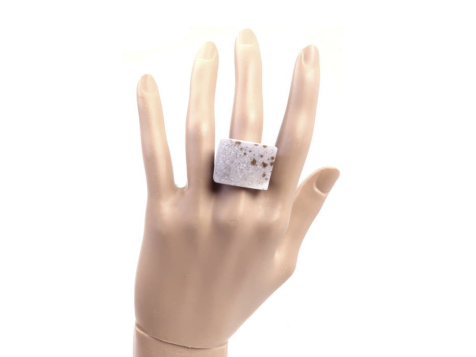 Druzy Quartz Ring Glittering White Agate Spotted Crystal Chunky Stone