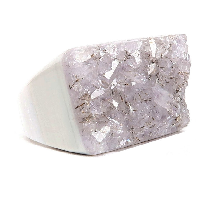 Quartz Druzy Ring Size 9 One-of-Kind Sparkling Purple Crystal White Agate Stone Chunky S03