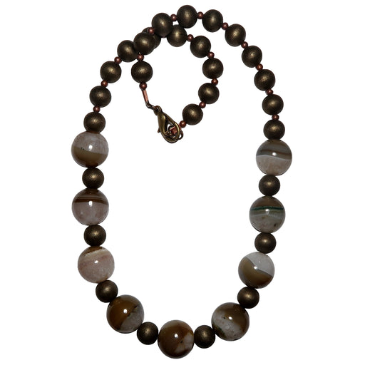 Quartz Agate Necklace Chunky Round White Brown Beaded Gemstone