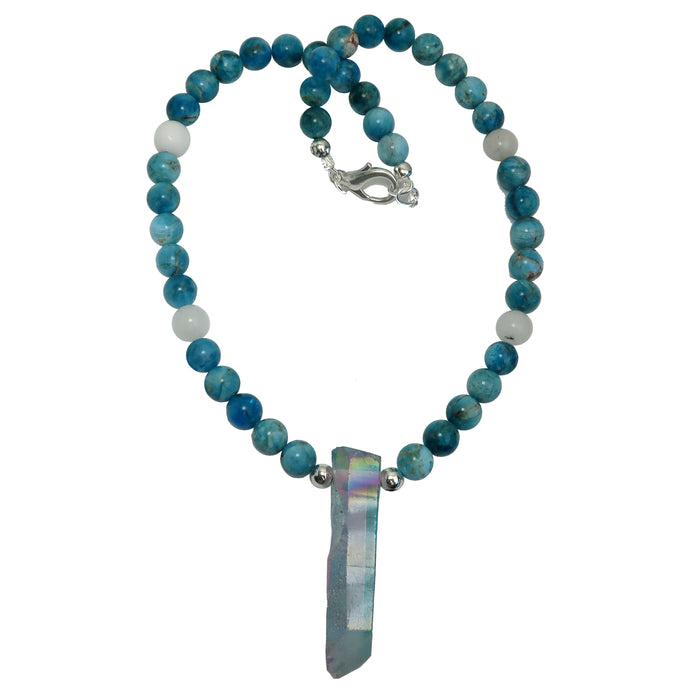 Quartz Aura Necklace Aqua Blue Apatite Snow White Statement Stone Point