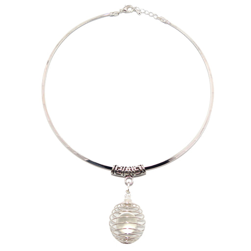 Quartz Cage Necklace Natural Clear Globe Aura Stone Silver Choker Neckwire