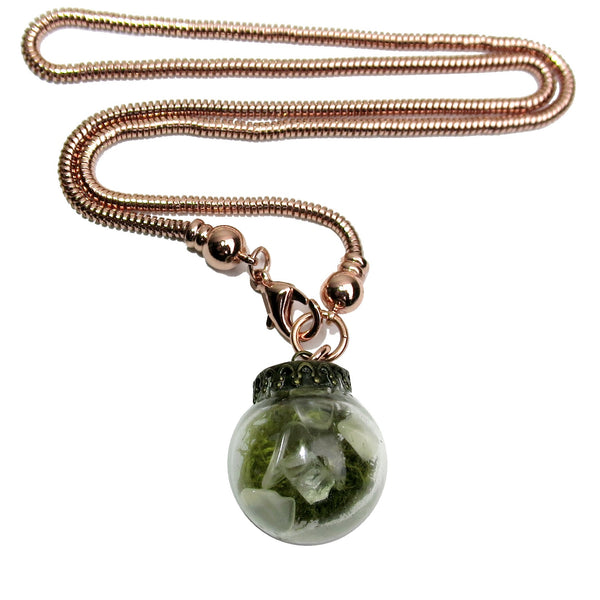 "Quartz Clear Necklace 18"" Specialty Copper Chain Glass Vial Green Moss One-of-Kind S01"