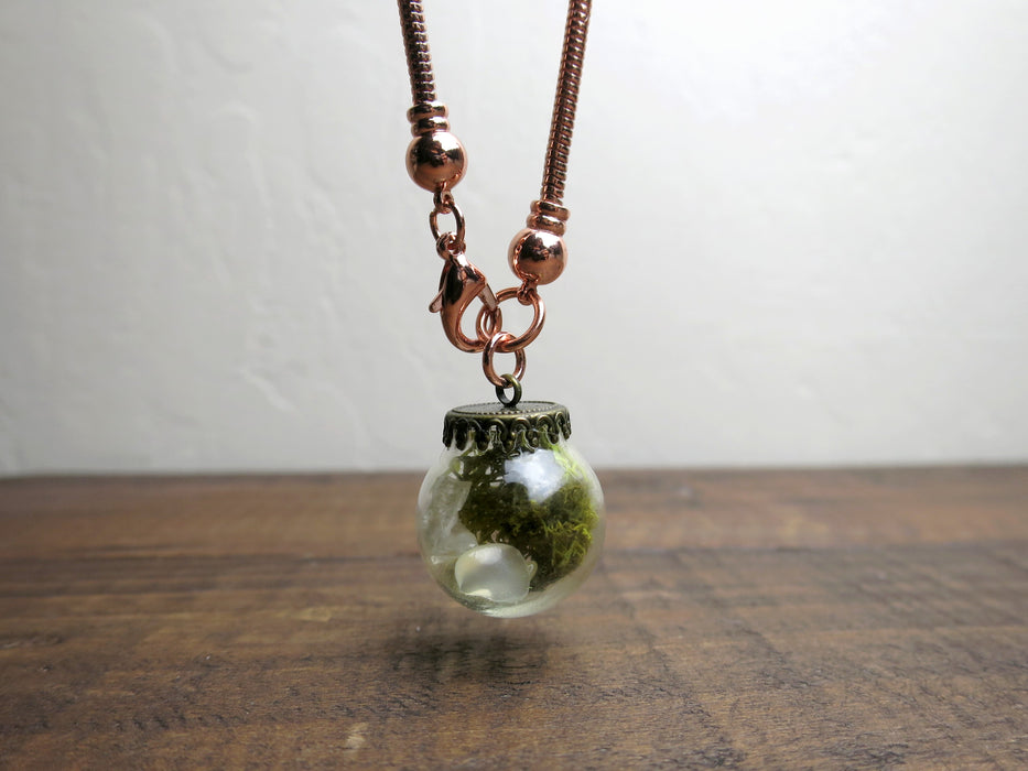 "Quartz Clear Necklace 18"" Copper Chain Glass Vial Green Moss One-of-Kind"