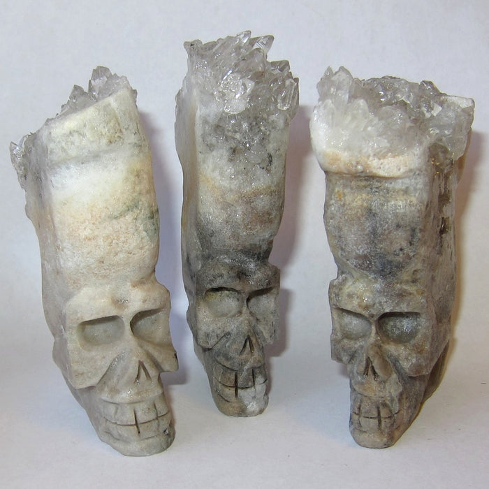 "Quartz Clear Skull 3.25"" Premium Cluster Head Crystal Ancient Stone Channeling P01"