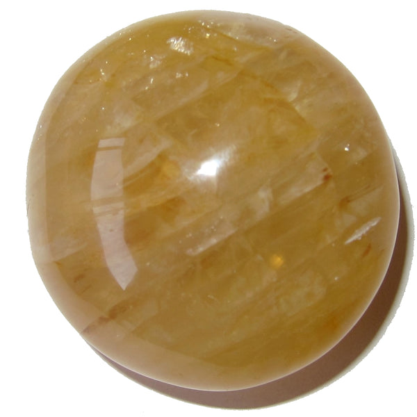 "Quartz Golden Polished Stone 2"" Collectible Puffy Round Circle of Life Crystal C04"