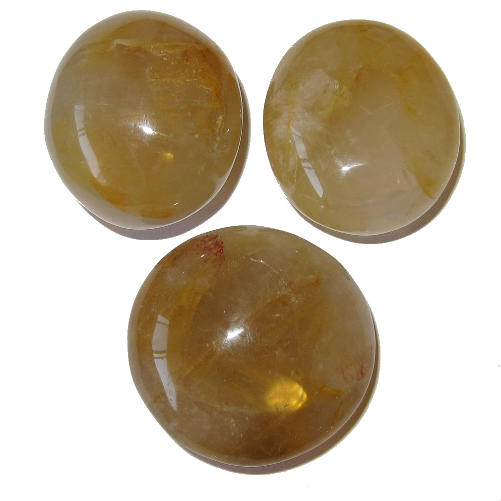 "Quartz Golden Polished Stone 1.8-2"" Collectible Trio of Prosperity Wealth C07"