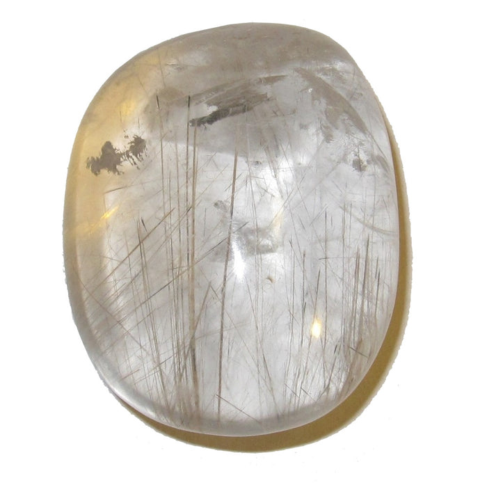 Rutilated Quartz Polished Palm Stone Clear Gold Thread Crystal Healing 1.8""