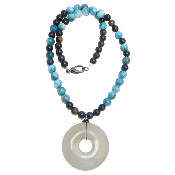 "Quartz Snow Necklace 22"" Specialty White Medallion Blue Apatite Black One-of-Kind S01"