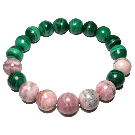 Rhodochrosite Bracelet 9mm Green Malachite Pink Genuine Gemstone Deluxe Round Stretch B01