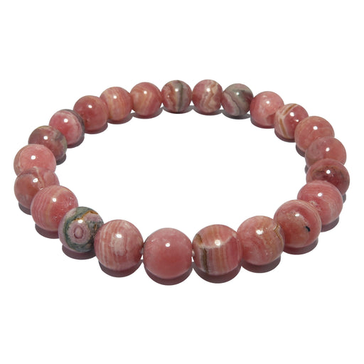 rhodochrosite round beaded stretch bracelet in 8mm beads