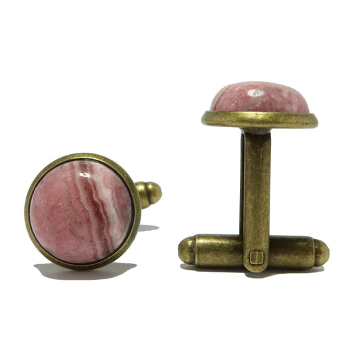 round rhodochrosite gemstones in antique bronze cufflinks