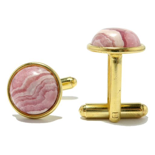 round rhodochrosite gemstones in gold brass cufflinks
