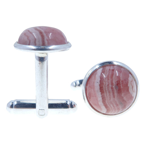 Rhodochrosite Cufflinks Silver 12mm Genuine Pink Gemstone