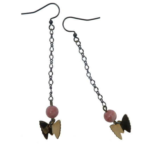 pink rhodochrosite round beads with gold butterfly charms on gunmetal chain earrings