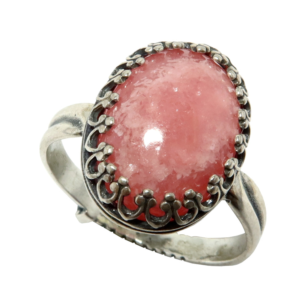 Rhodochrosite Ring Adjustable Sterling Silver Genuine Pink Oval Gemstone