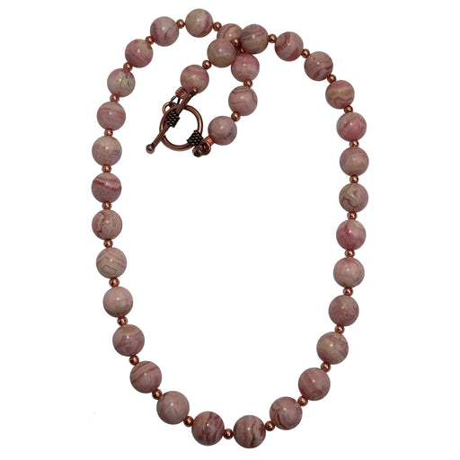 round rhodochrosite and copper beaded necklace with toggle clasp