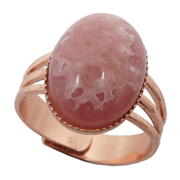 Rhodochrosite Ring 4-10 Boutique Deluxe Pink Gemstone Oval Adjustable B01 (Copper)