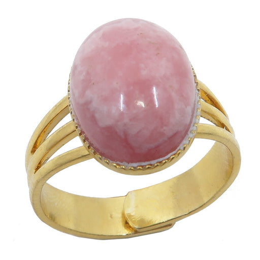 Rhodochrosite Ring Adjustable Gold Deluxe Pink Oval Gemstone (Size 4-10)