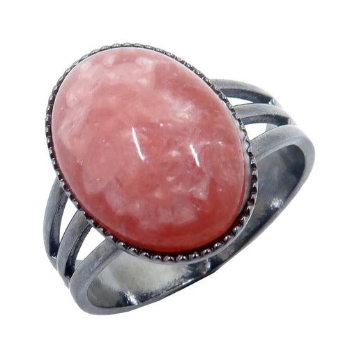 Rhodochrosite Ring Adjustable Gunmetal Deluxe Pink Oval Gemstone (Size 4-10)