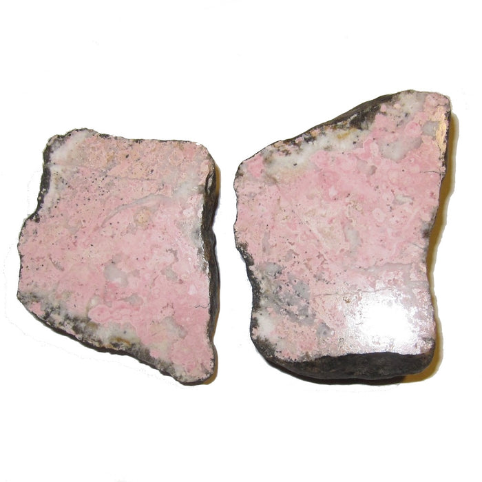 "Rhodochrosite Raw Gemstone Slices 4"" Collectible Geode Pair Pink Nodule Soul Mates Crystal Healing Gift Set C55"