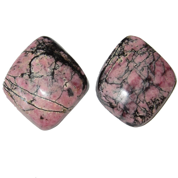 "Rhodonite Cabochon Collectible Pair of Pink Black Landscape Crystals Love Joy C60 (1.5"" Diamonds)"