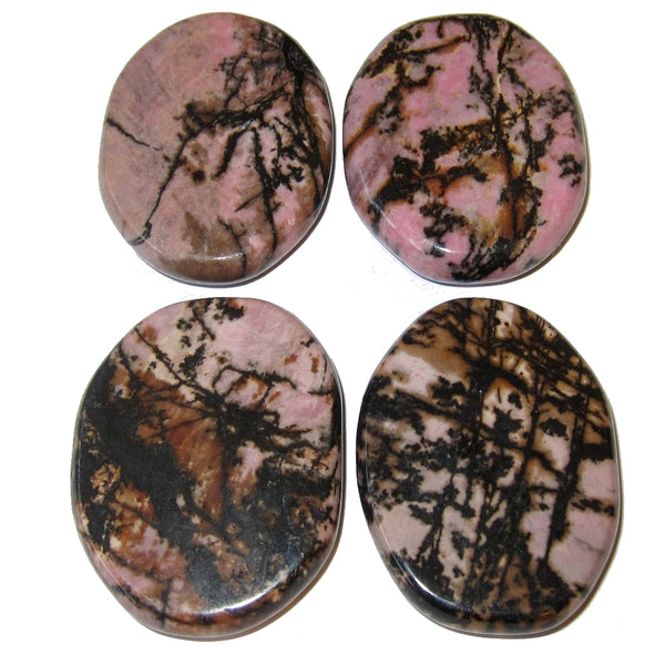 "Rhodonite Polished Stone 1.8"" Premium Pink Set of 4 Top Quality Super Landscape P01"