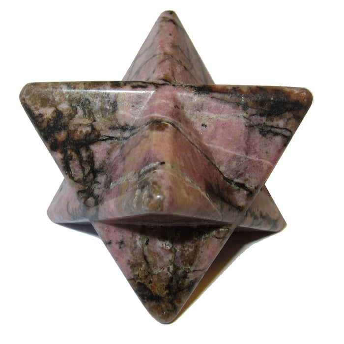 "Rhodonite Polygon 2.5"" Collectible Pink and Black Super Star Merkaba Heart Chakra Healing Stone C50"