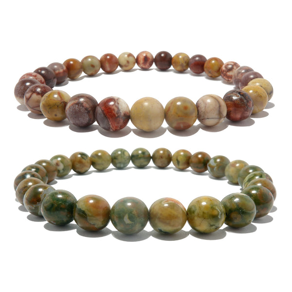 Rhyolite Bracelet Set 7mm Red Birds Eye & Green Rainforest Unique Round Stone Stretch Pair B01
