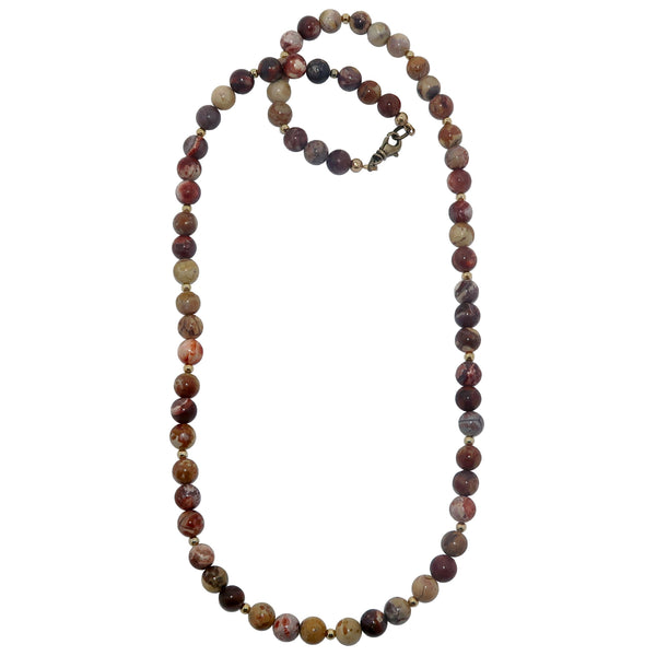 Rhyolite Necklace 7mm Boutique Beaded Birds Eye Red Cream Round Gemstone B01
