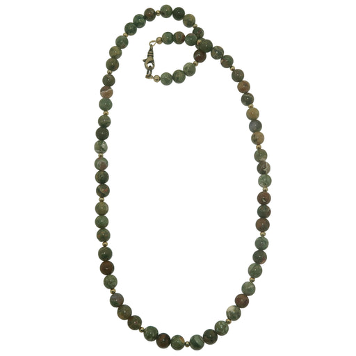 Rhyolite Necklace 7mm Boutique Beaded Leafy Beaded Gemstone Round Earthy Green B02