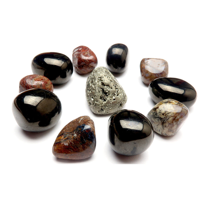 Root Chakra 01z Black Red Gold Pyrite, Jet & Pietersite Tumbled Crystal Grid Stones (Set of 11)