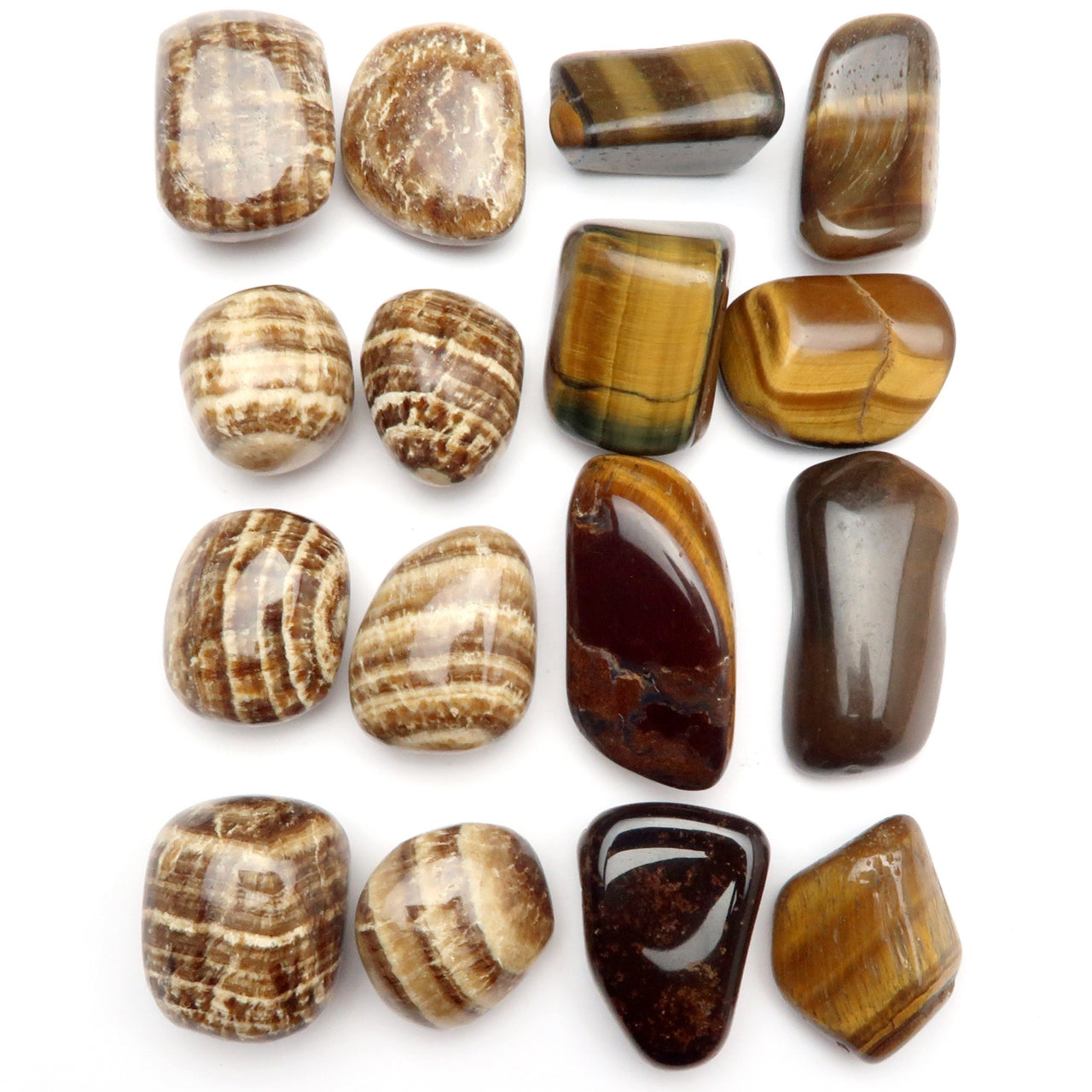Root Chakra 06z Brown Aragonite & Tigers Eye Tumbled Stones (Set of 16)